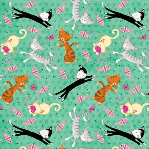 Frolicking Feline Flannel N-1025-11