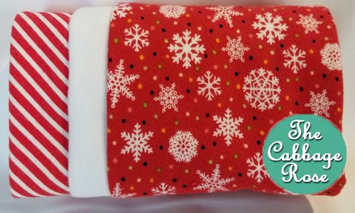 Pillowcase kit - Snowflakes on Red Flannel