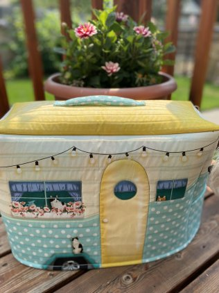 Vintage Camper Sewing Machine Cover Fabric Panel