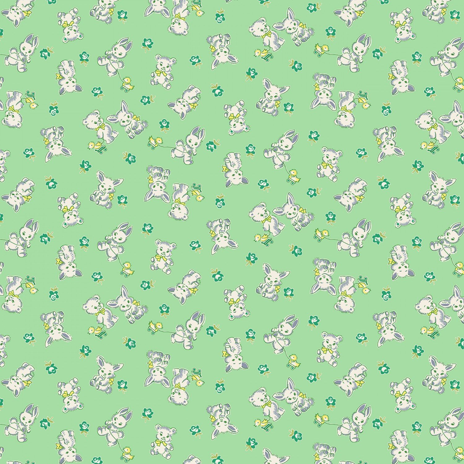 Nana Mae Bunnie and Bears Reproduction Fabric