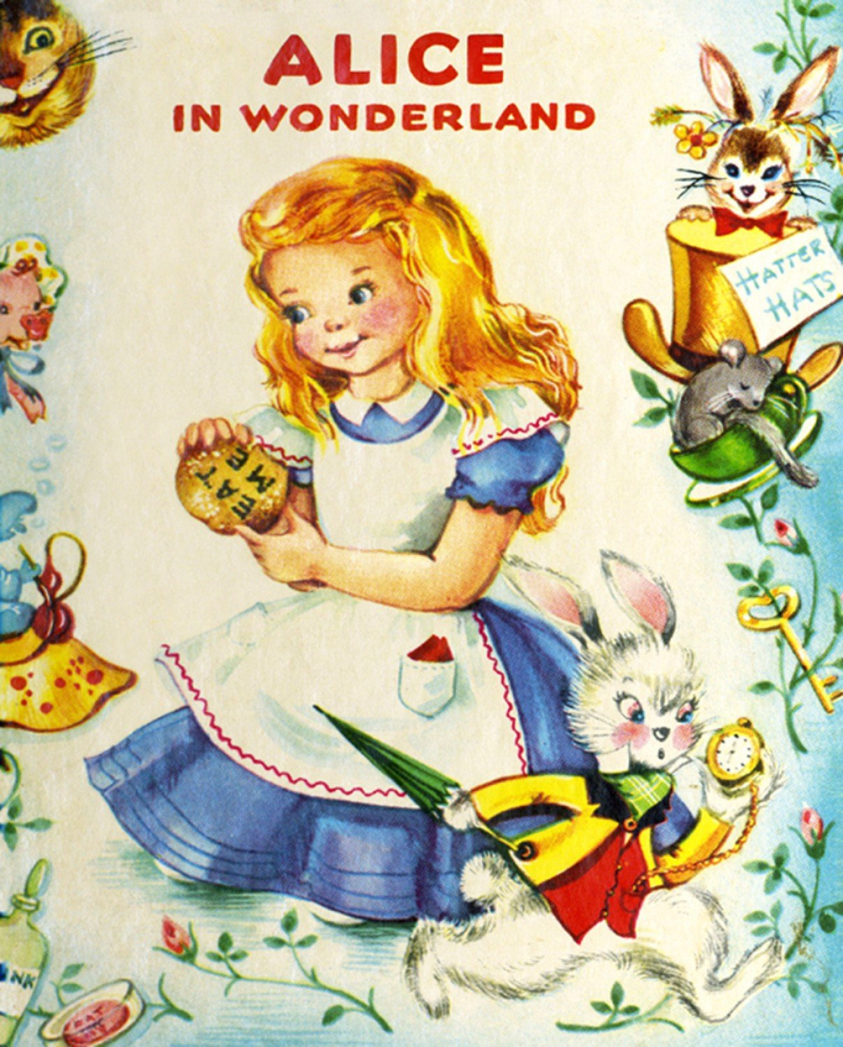 Alice In Wonderland Vintage Storybook Children's Fabric Panels 36 x 44