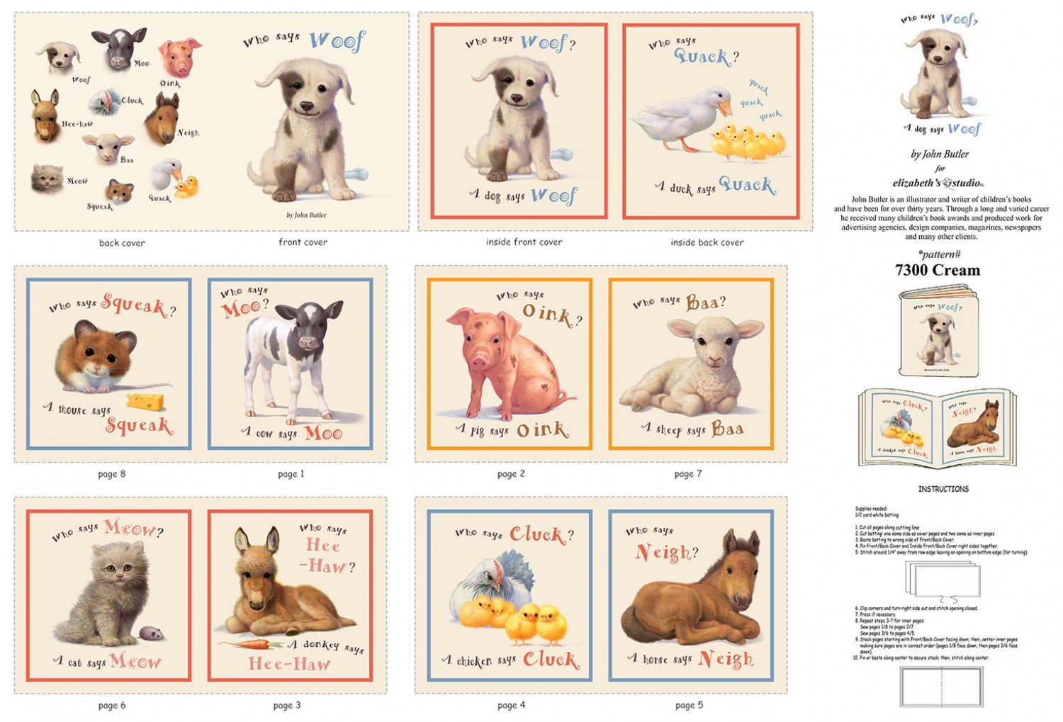 Animal Friends Who Says Woof Cloth Story Books Panel To Sew