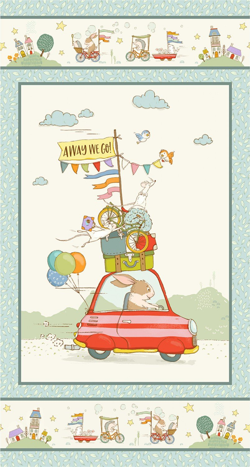 Away We Go Children's Fabric Panel from Michael Miller 24 x 44 Inches