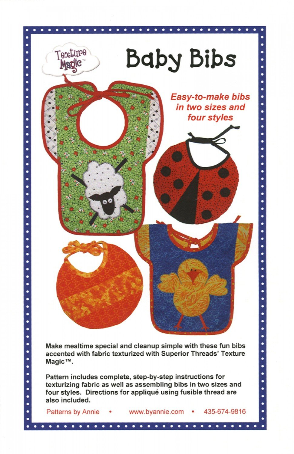Baby Bib Patterns from Texture Magic by Patterns by Annie