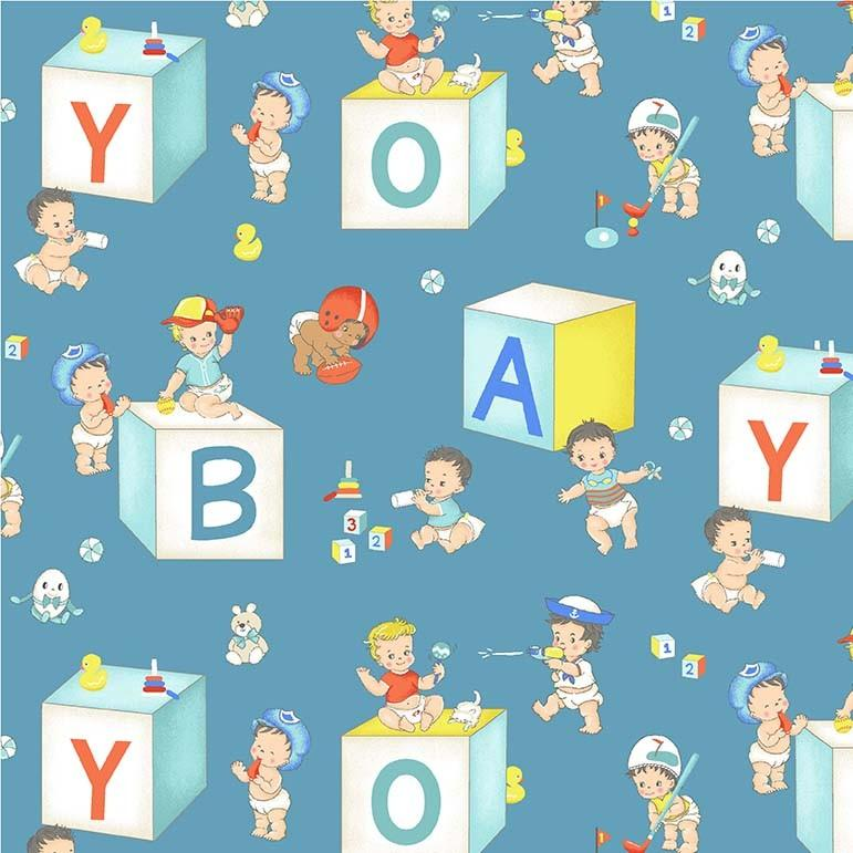 Baby Boys Children's Fabric Print from Michael Miller 44 Inches Wide
