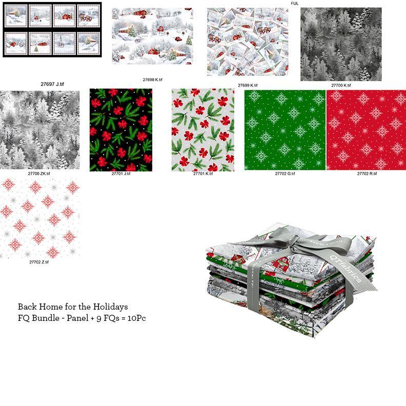 Back Home For The Holidays Christmas Theme Fabric Fat Quarter Bundle