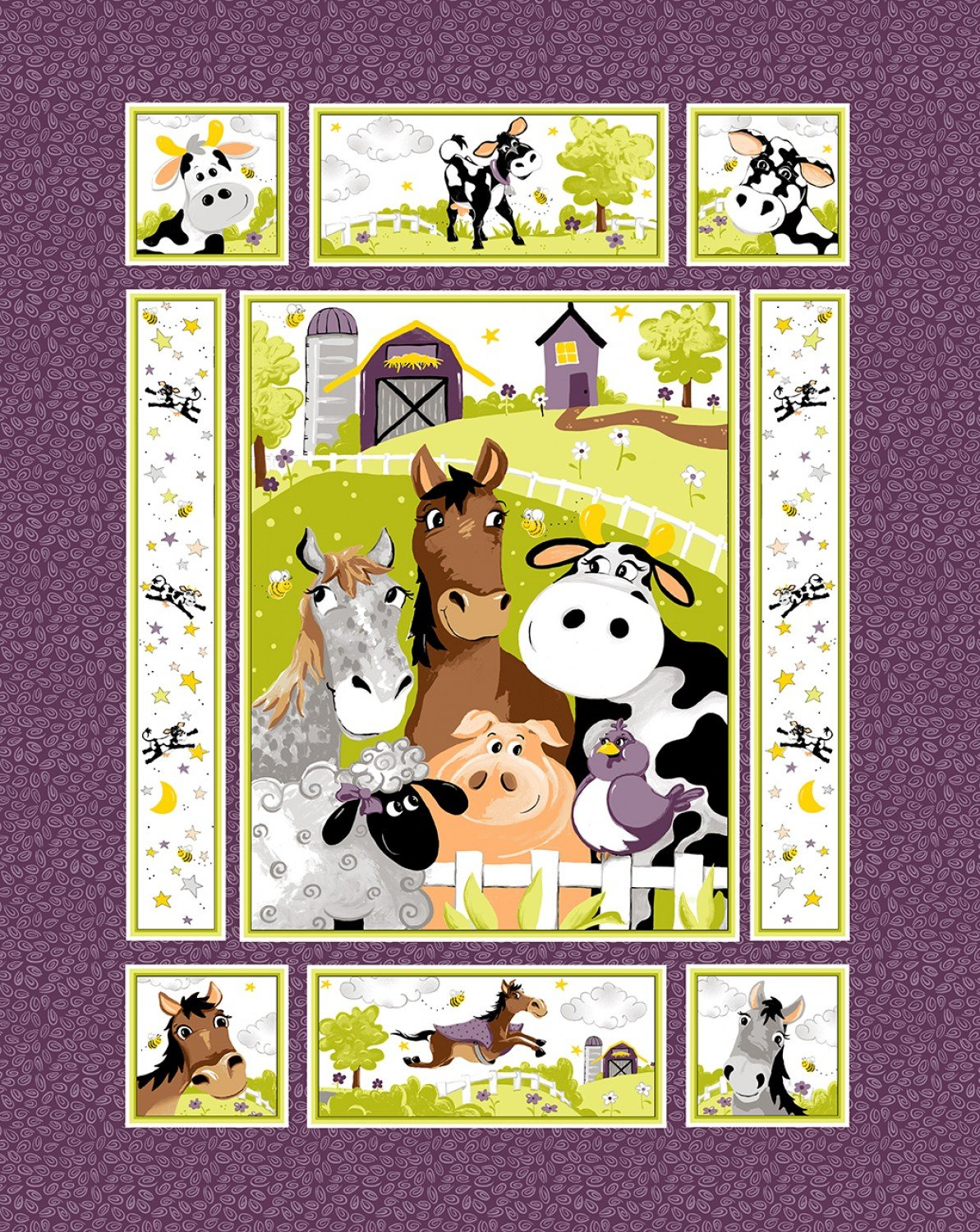 Barnyard Buddies Children's Fabric Panel by Susybee 36 x 45 Inches