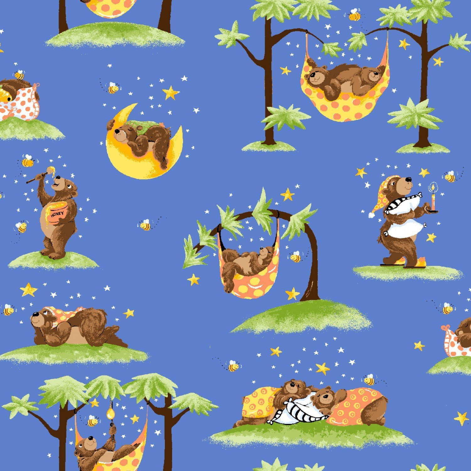 Baron The Bear Children's Fabric from Susybee Fabrics 44 inches wide