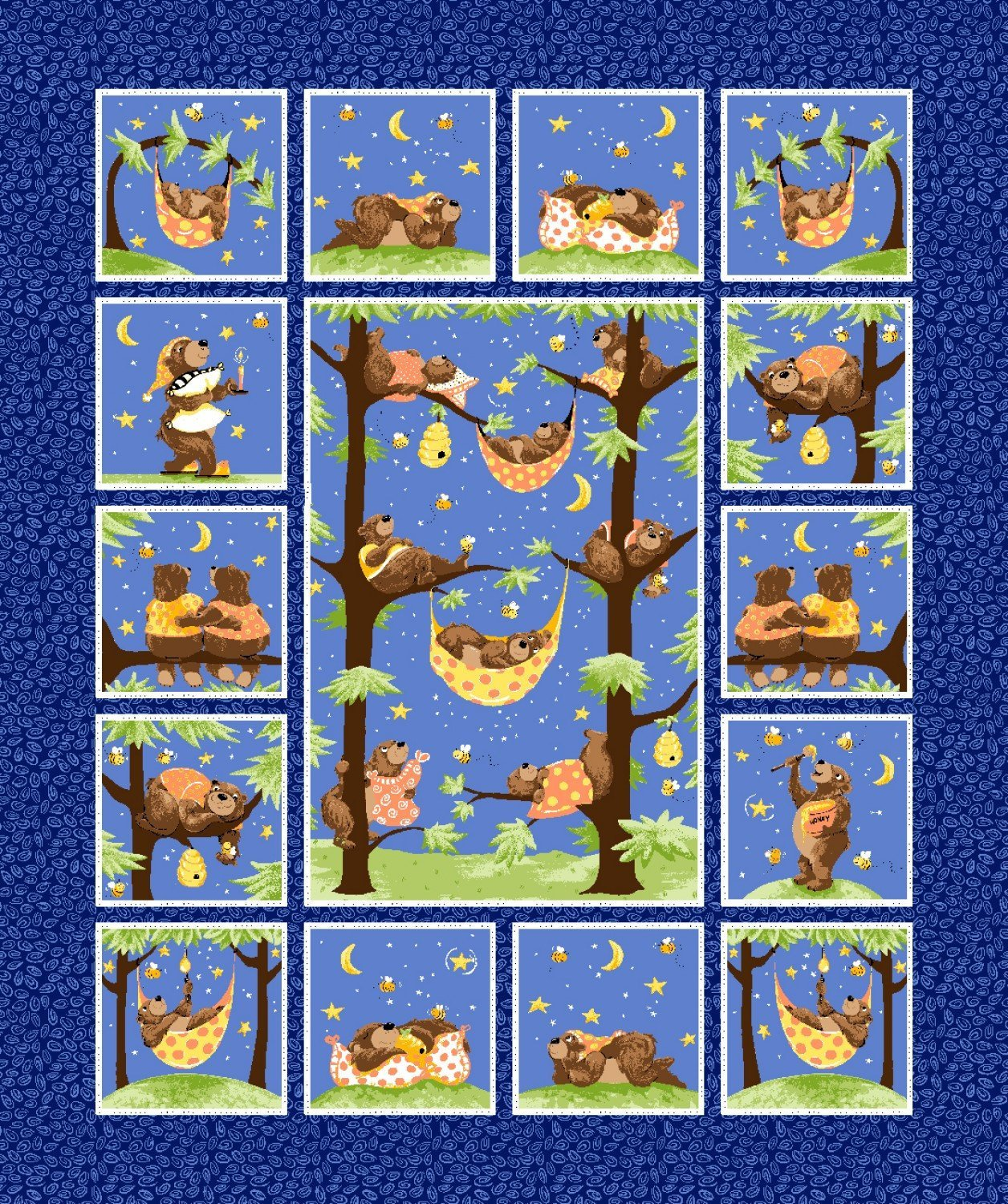 Baron The Bear Susybee Fabric Panels 36 x 43 Inches
