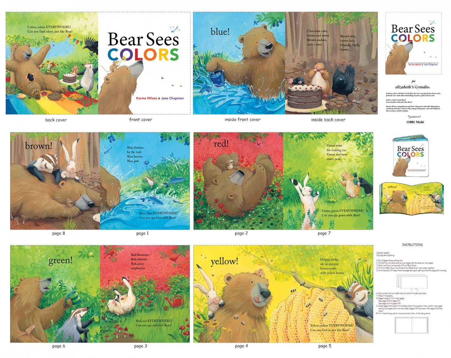 BEAR SEES COLORS, Childrens Fabric Panels 36x44 Elizabeth Studios
