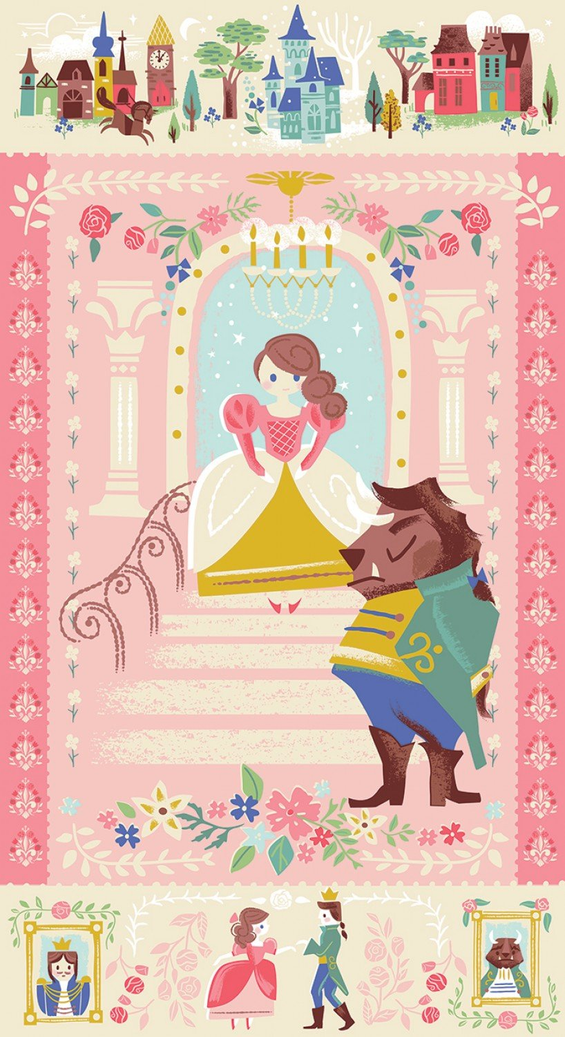 Beauty and The Beast Children's Fabric Panels from Riley Blake