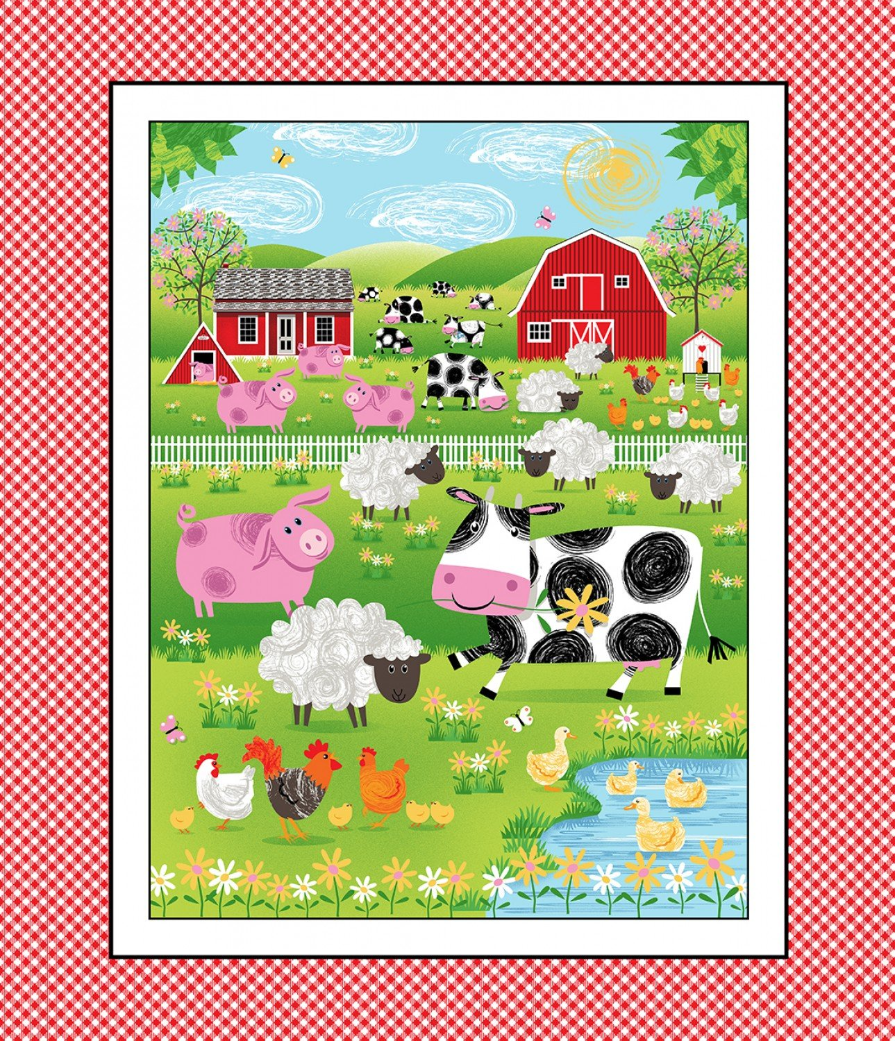 Best Friends Children's Cotton Barnyard Fabric Panel 36 x 44 Inches