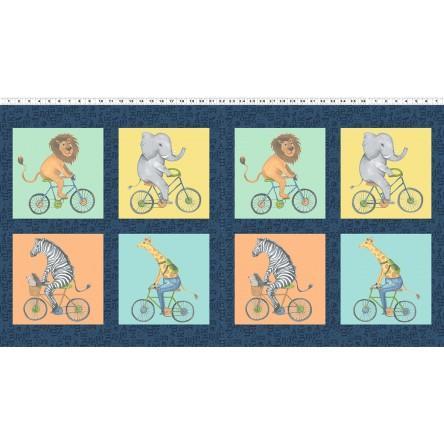 Bike Ride Fabric Children's Cotton Panel from Clothworks  22 x 44