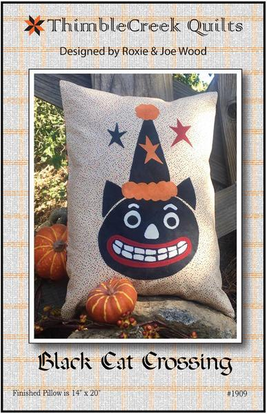 Black Cat Crossing Halloween Pillow Patterns from Thimble Creek Quilts