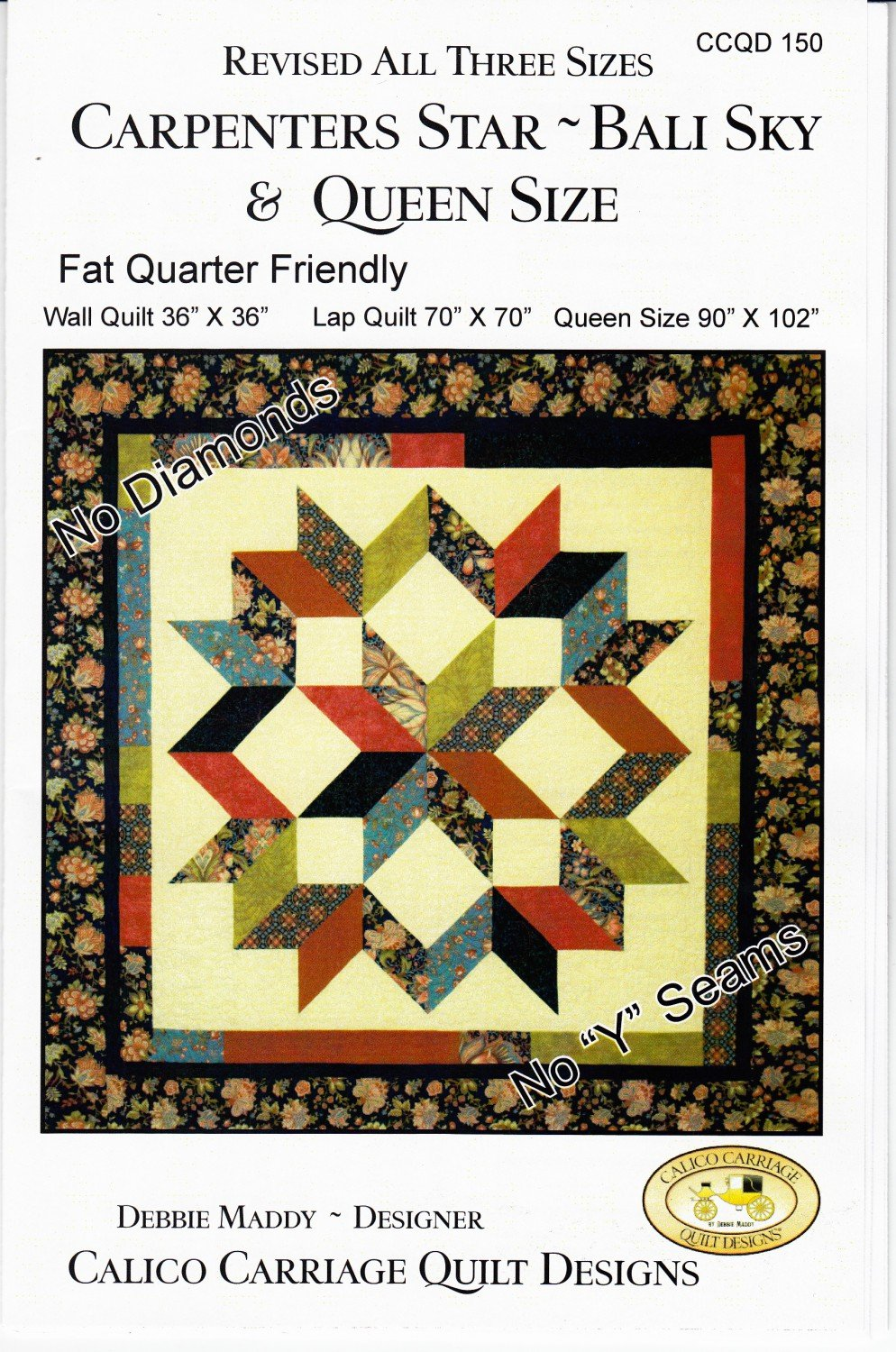 Carpenters Star Bali Sky Quilt Pattern from Calico Carriage Quilt Designs