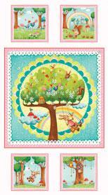 Children's Fabric Panel Rainbow Woodland Cotton Panel 24 x 41 Inches