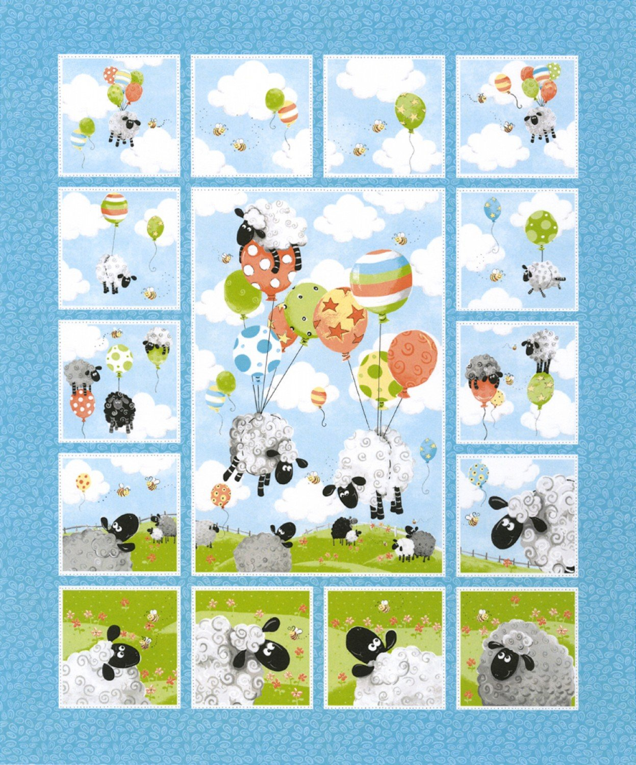 Children's Fabric Panels Lewes Balloons from Susybee Fabrics 36 x 43 Inches