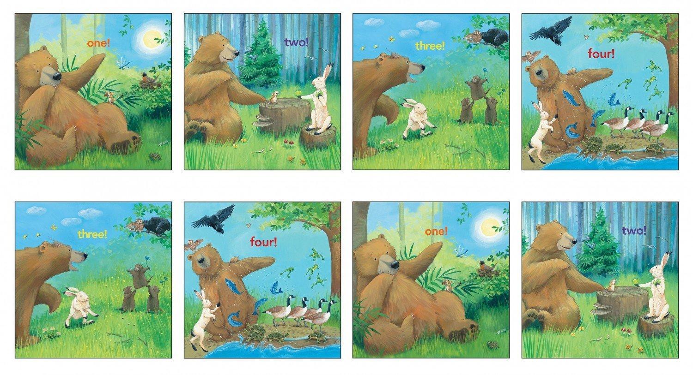 Childrens Fabric Panels, Bear Counts Elizabeth Studios 24 x 44 Inches