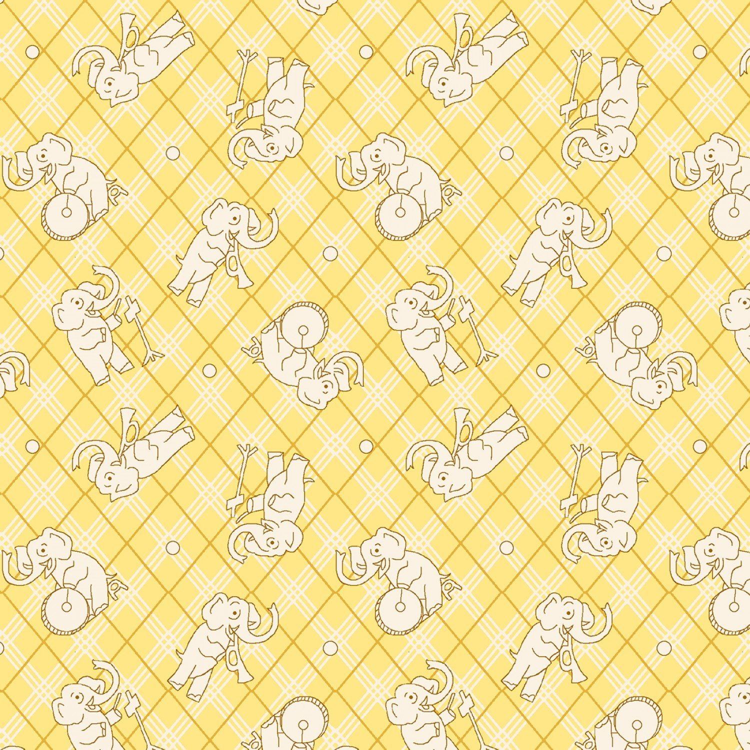 Children's Fabric Yellow Elephants 1930's Reproduction Fabric from Nana Mae