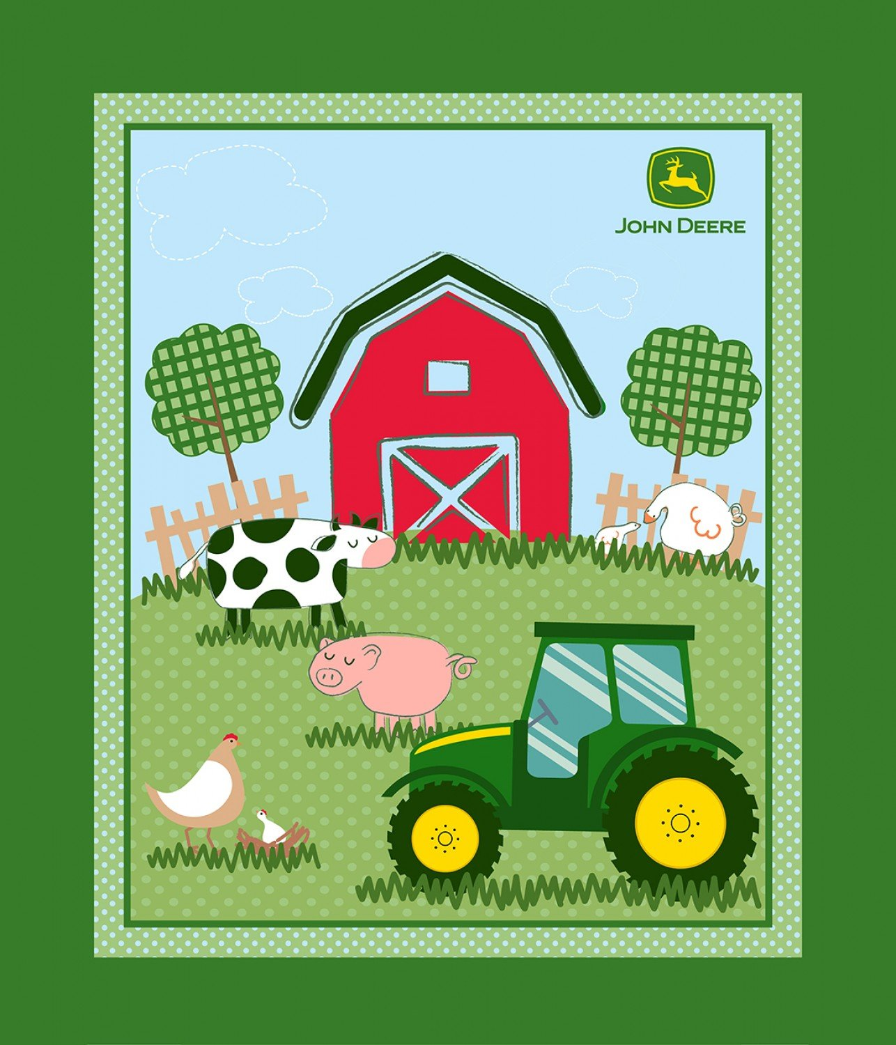 Children's John Deere Fabric Barnyard Panel 36x45 Cotton