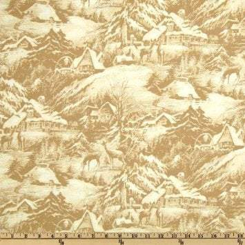 Christmas Fabric Snowy Christmas Eve Cotton Fabric By The Yard