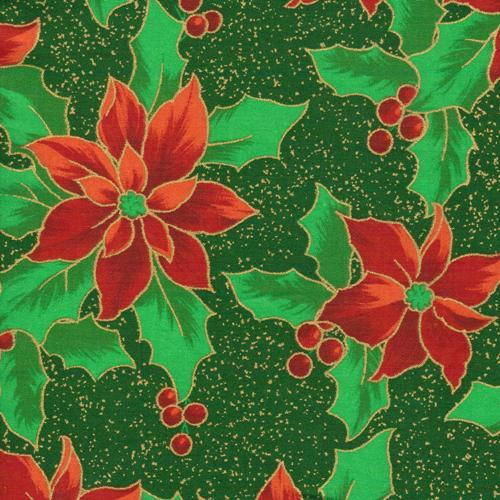 Christmas Holiday Poinsettia Fabric Yardage 45 Inches Wide