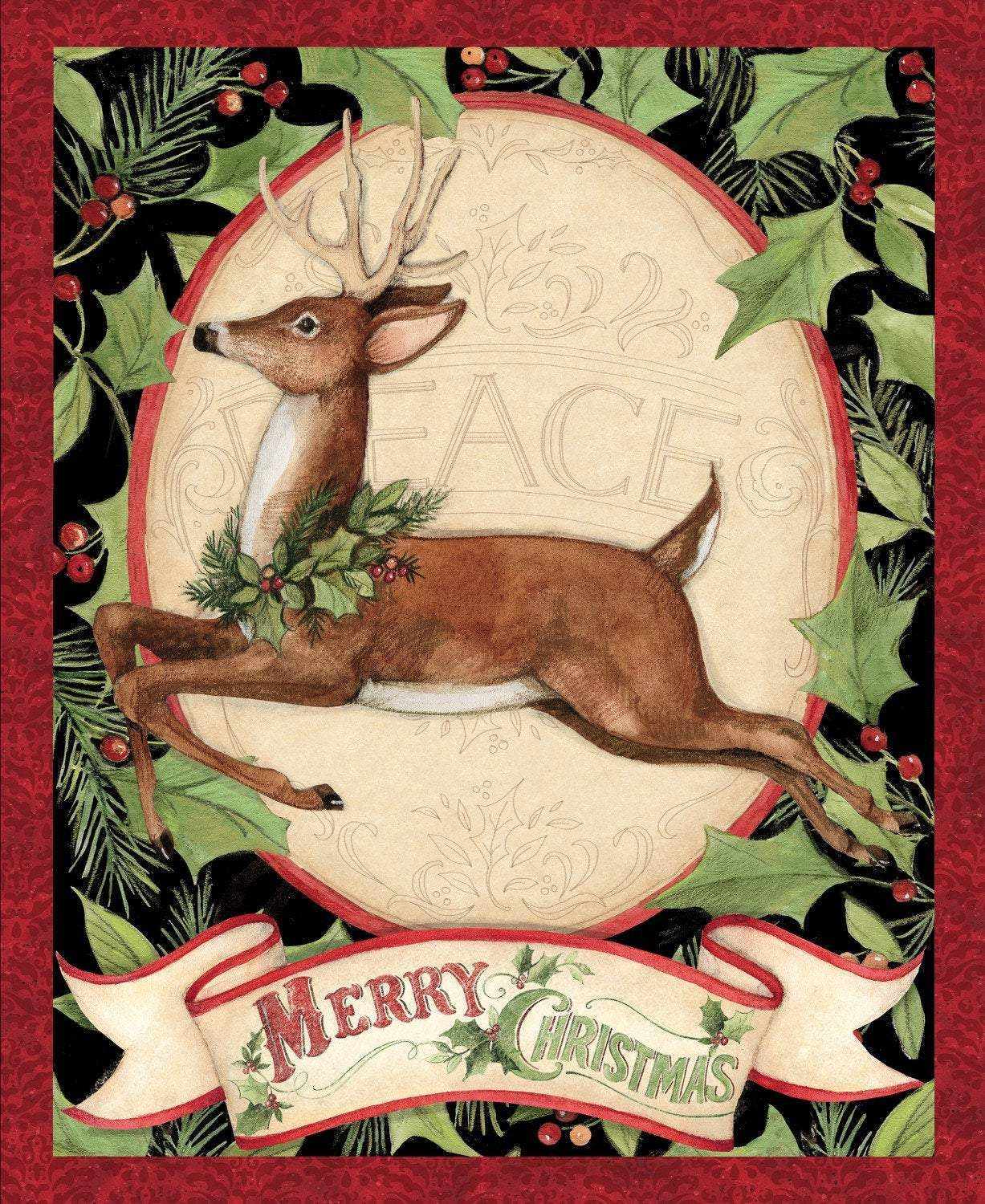 Christmas Woodland Deer Cotton Panel 36 x 44 by Springs Creative