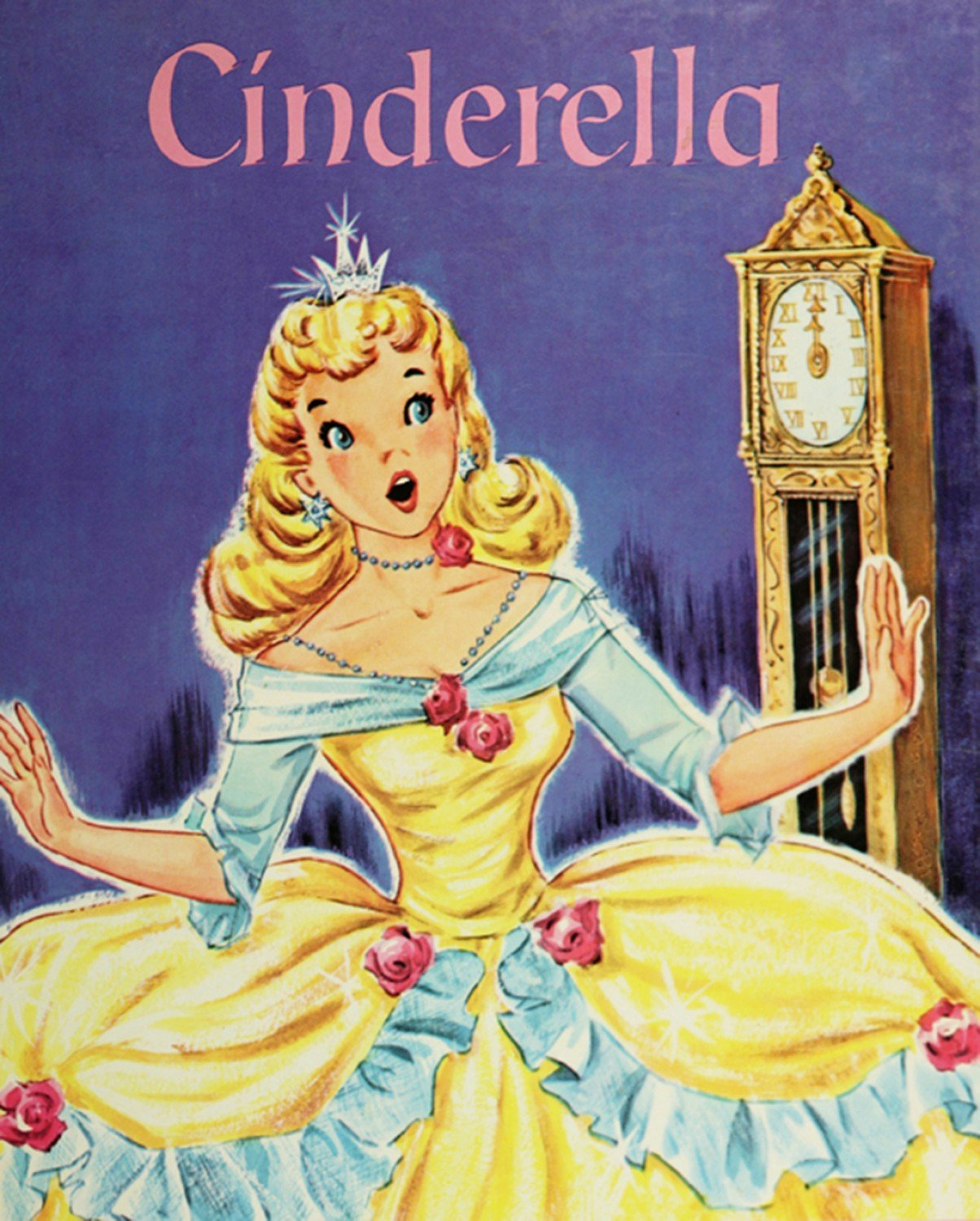 Cinderella Vintage Storybook Children's Fabric Panels 35.5 x 44 Inches