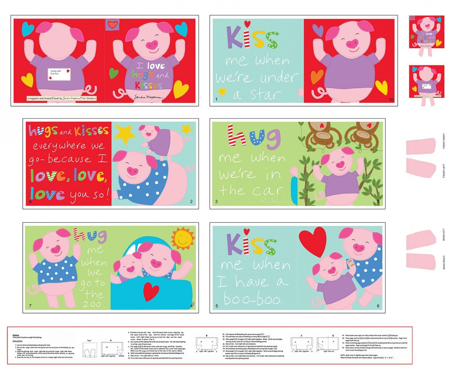 Huggable and Loveable Hugs and Kisses Cloth Book Panel