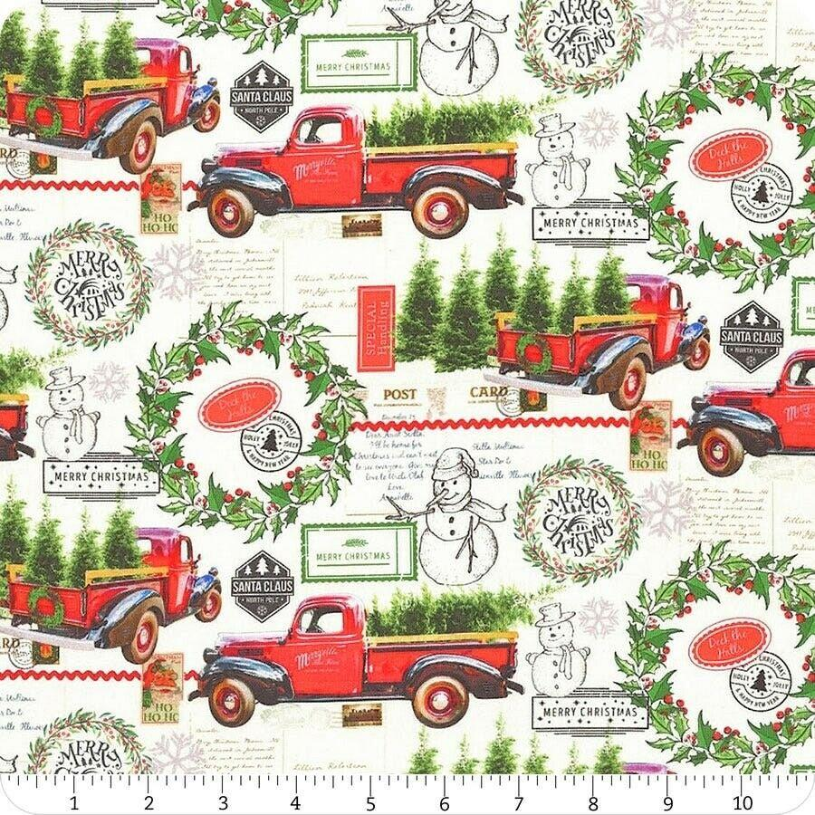 Deck The Halls Red Truck Christmas Fabric from Springs Creative