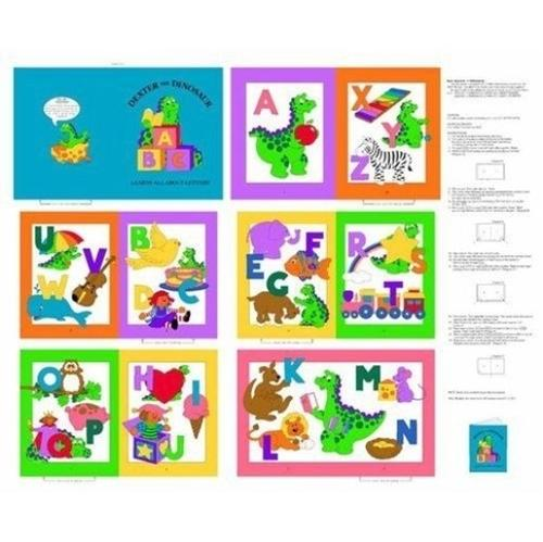 Dexter The Dinosaur Learns Letters Cloth Book Panel To Sew