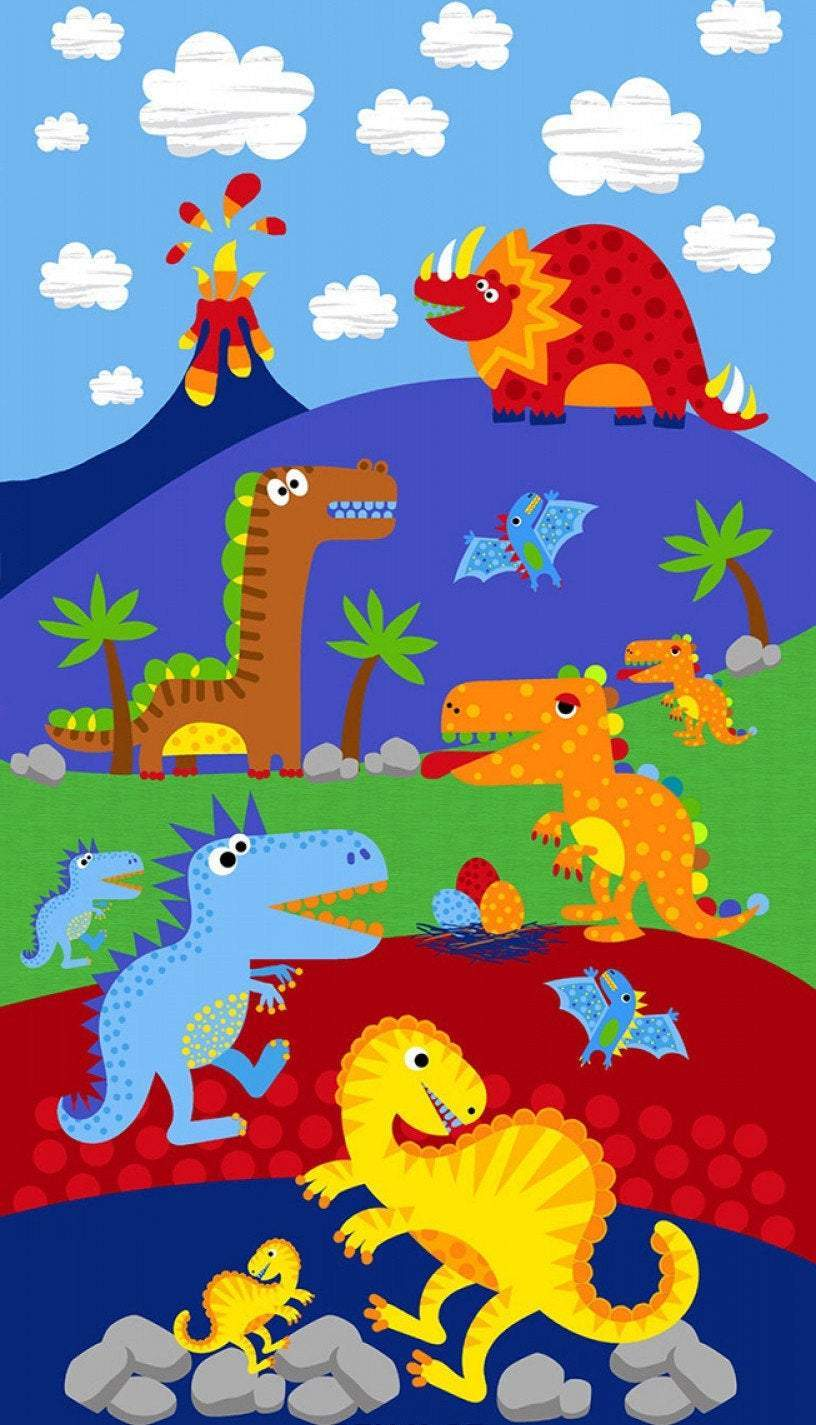 Dino Parade Children's Cotton Panel 24 x 44 Inches by Timeless Treasures