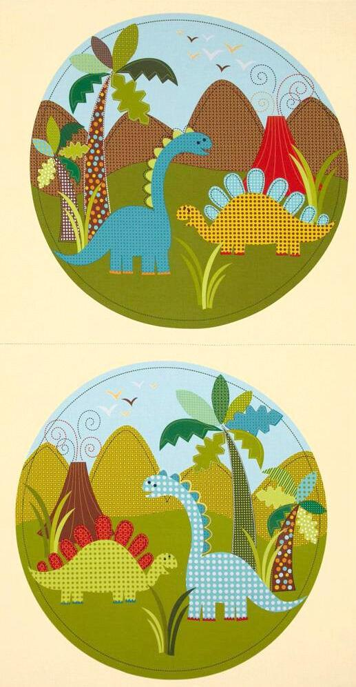 Dinosaur Children's Fabric Panel from Michael Miller 23 x 44 Inches