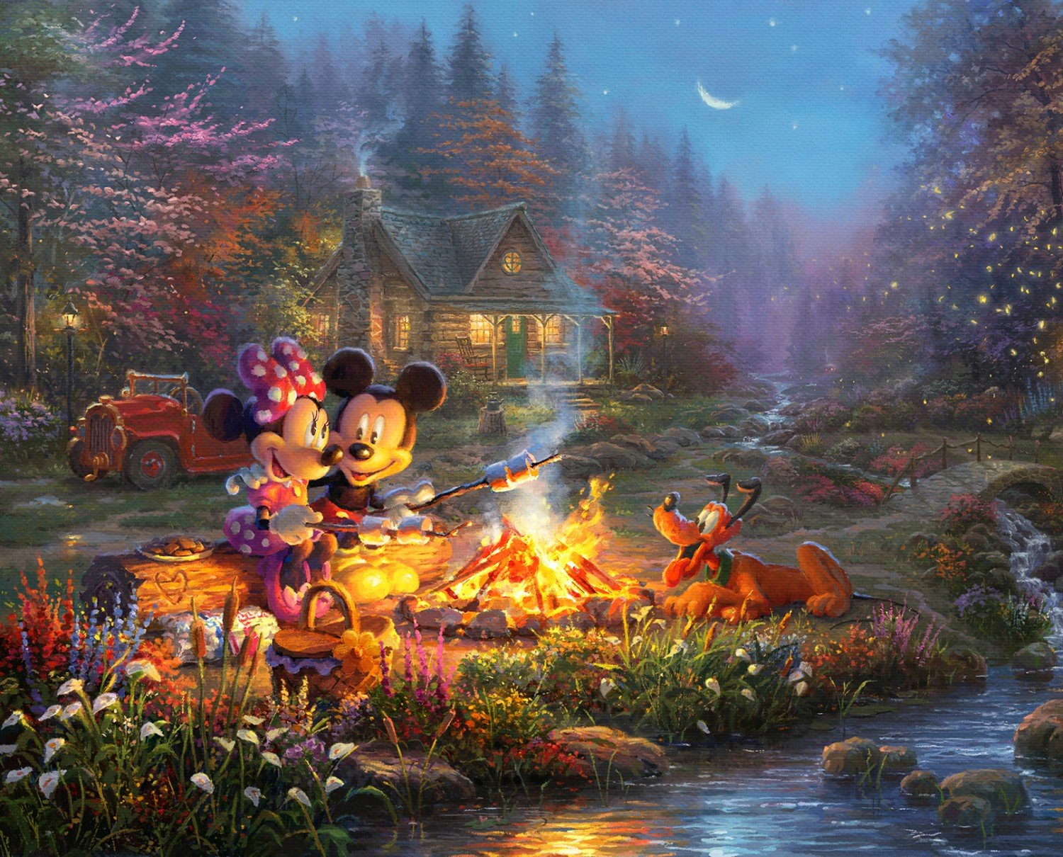 Disney Dreams Sweetheart Campfire Children's Fabric Panel 36 x 44 Inches