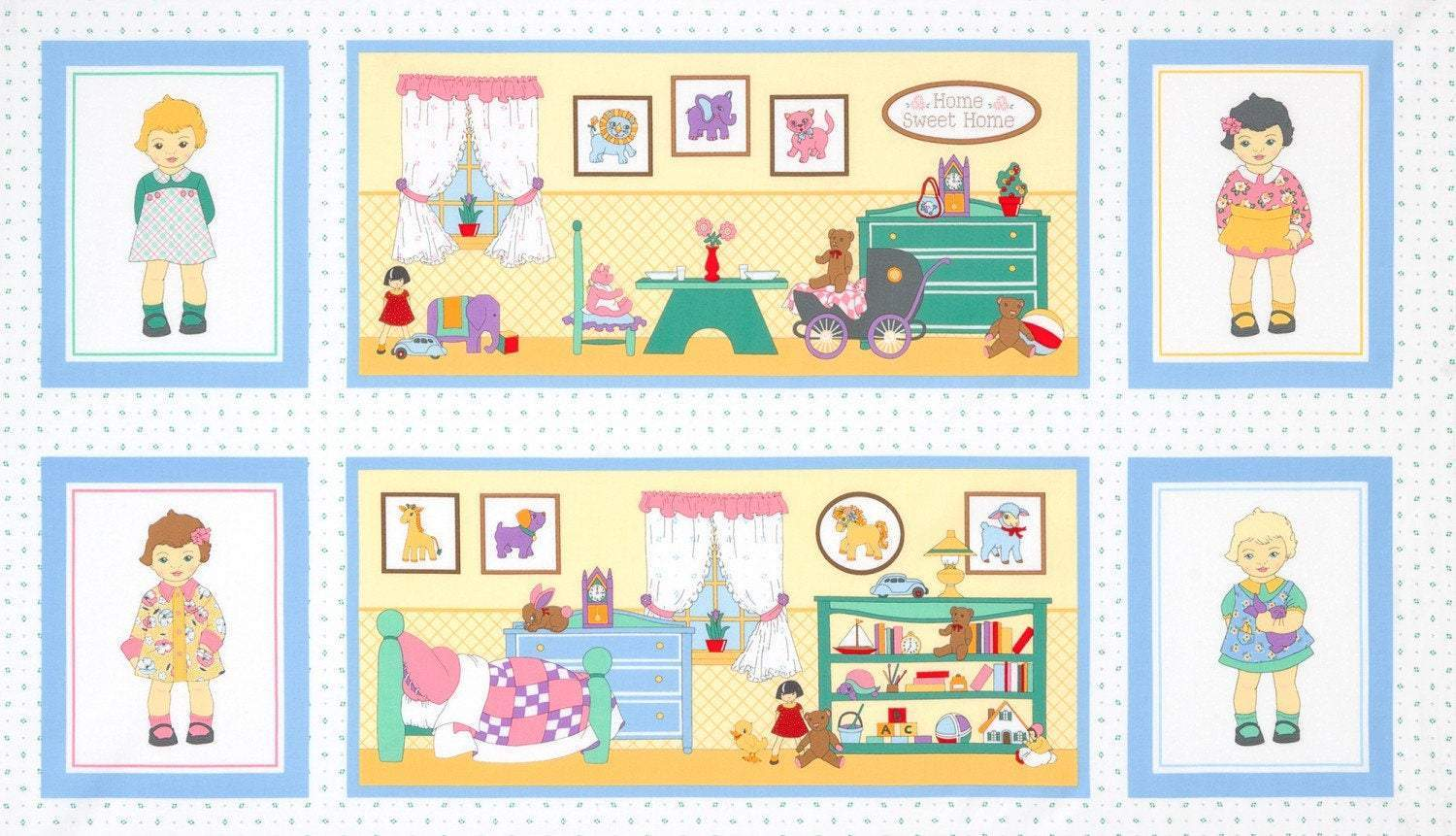 DOLLY JEAN FABRIC Children's Cotton Fabric Panel 27 x 44 Inches
