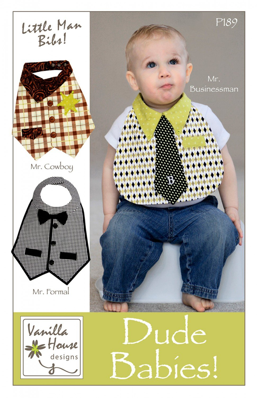 Dude Babies Little Man Baby Bibs Patterns by Vanilla House Designs