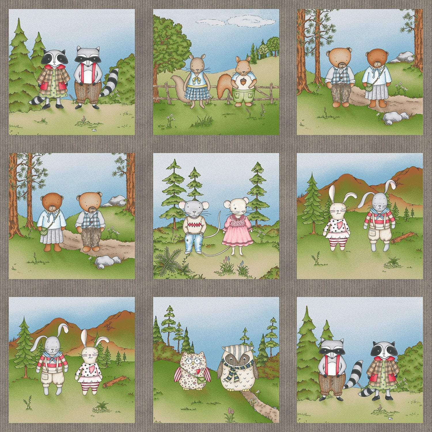 FABRIC PANEL Forest Friends Childrens Cotton Fabric Panel 24x42 inches