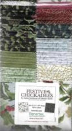 Festive Chickadees Christmas Holiday 2 1/2 Inch Fabric Strips