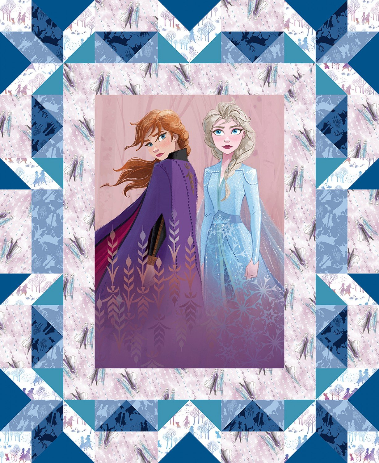 Frozen 2 from Disney Elsa and Ana Cotton Fabric Panel 44 x 35.5 Inches