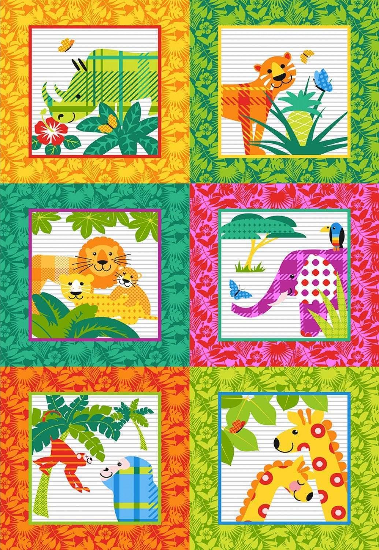 Gone Wild Children's Fabric Panels Cotton 30 x 45 Inches from Studio E