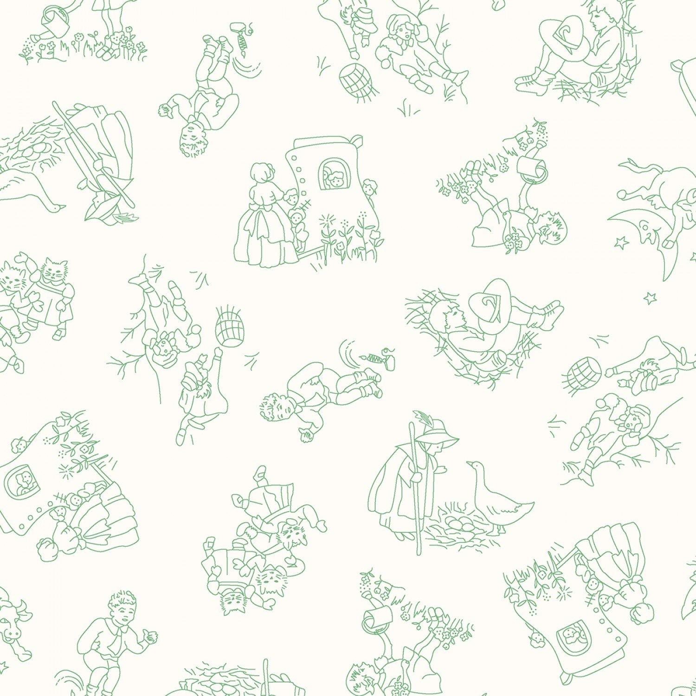 Green Nursery Rhymes Toile Children's Fabric