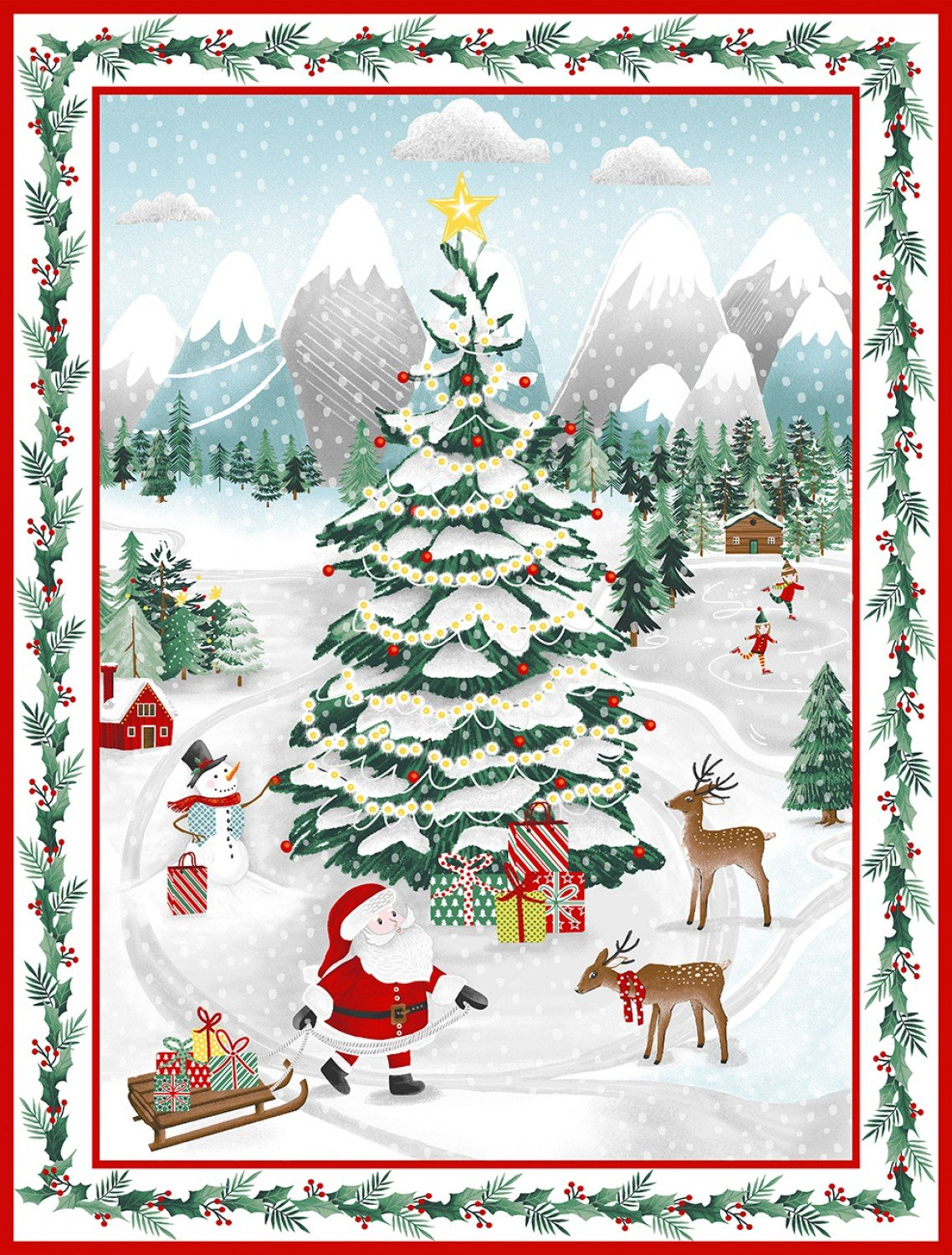 Green Peace and Goodwill Holiday Fabric Panel 36 x 44 Inches