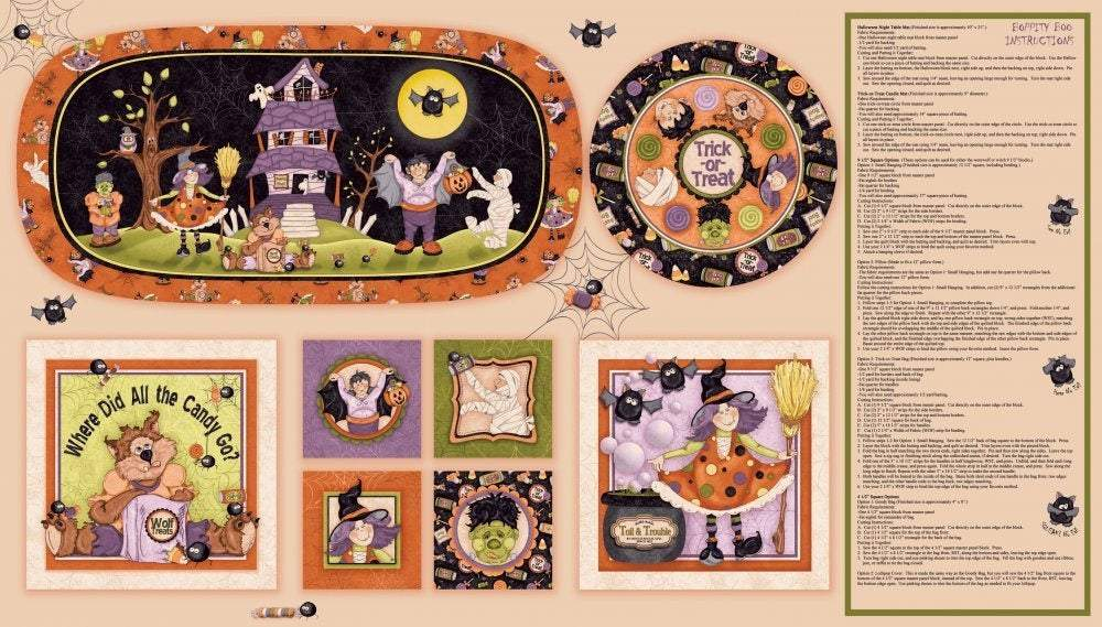 Halloween Fabric Cotton Panel Boppity Boo from Red Rooster