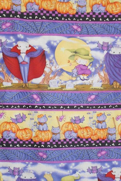 HALLOWEEN FABRIC PANEL, Happy Haunting  Fabric Multi Stripe