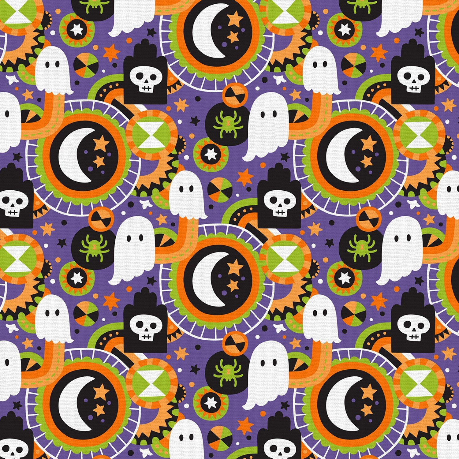 Halloween Graveyard Halloween Cotton Fabric from Paintbrush Studios