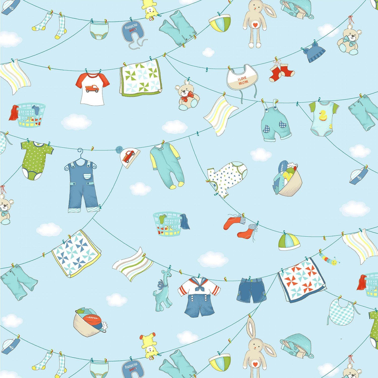 Hanging Out Children's Cotton Fabric from Michael Miller Fabrics