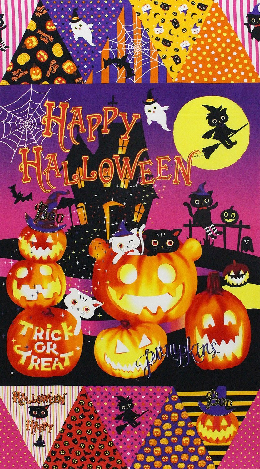 Happy Halloween Fabric Panel by Lecien of Japan 24 x 27 Inches
