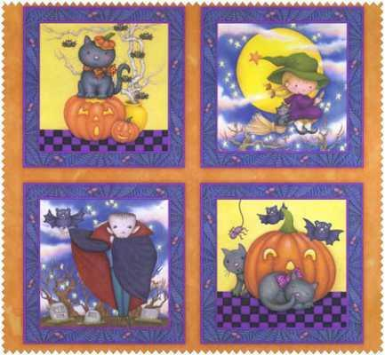 Happy Haunting Children's Halloween Cotton Fabric Panel 24 x 44 inches