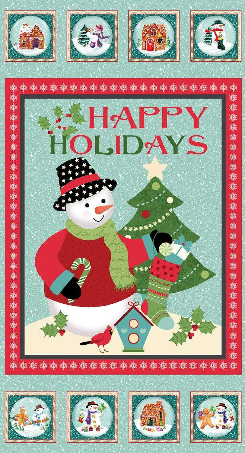 Happy Holidays Snowman Christmas Cotton Fabric Panel 24 x 44 Inches