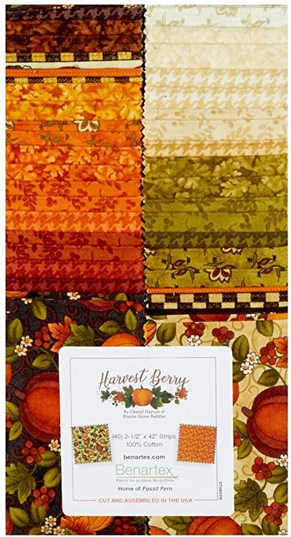 Harvest Berry Fall Autumn Cotton 2 1/2 Inch Strips from Benartex